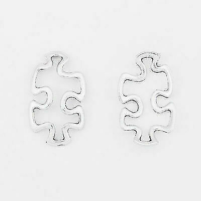 15 Antique Silver Open Autism Awareness Puzzle Piece Charms Pendant Connectors