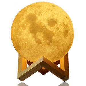 """3D Printing Moon Lamp Moonlight LED Night Lunar Light Touch Color Changing 5.9"""""""