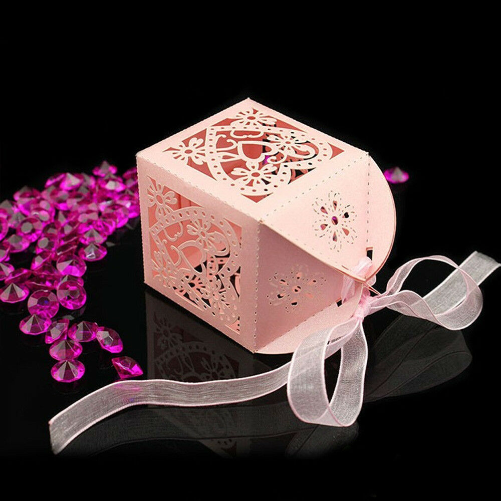 Love Heart Hollow Out Candy Storage Box Wedding Favors Box Party ...