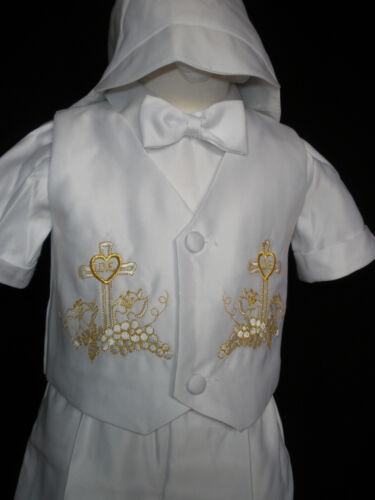 INFANT BOY /& TPDDLER CHRISTENING BAPTISM VEST SHORTS SUITGOLD NEW BORN 0-30M
