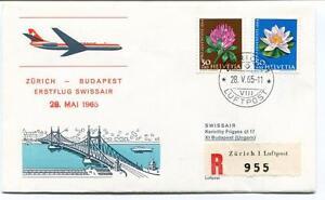 Ffc 1965 Swissair First Flight Zurich Zurigo Budapest Ungarn Registered Helvetia