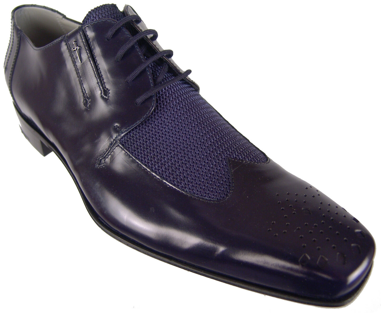 Authentique  870 Cesare Paciotti Navy Derbies US 8.5 Italian Designer chaussures