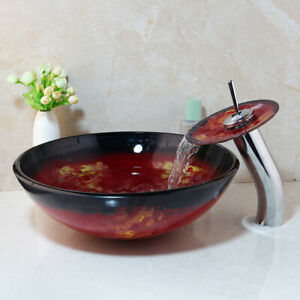 Tempered-Glass-Vessel-Bathroom-Round-Basin-Sink-Bowl-Waterfall-Faucet-Combo-Set