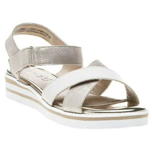 New Womens Caprice Gold Metallic 28200 Leather Sandals Wedge Straps
