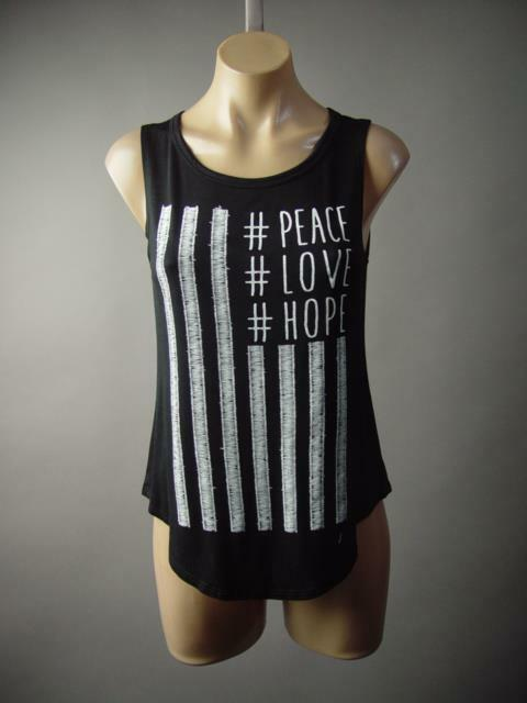 Peace Love Hope Inspiration Hashtag US Flag Stripe Tank Top 183 mv Shirt S M L