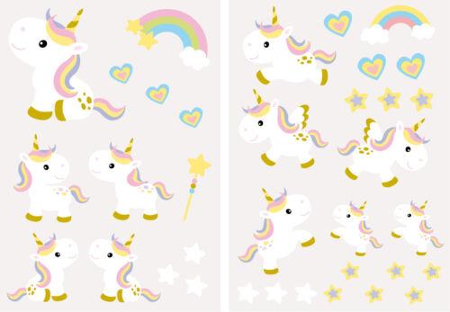Licorne Sticker Set Autocollant Sticker Mural licornes chambre enfant a083