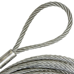 8mm Stahlseil mit Öse 0,5-10m Pressklemmen 2 x Schlaufe verzinkt Drahtseil Bau