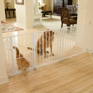 Extra Wide Metal Pet Gate Walk Thru Sturdy Dog Barrier