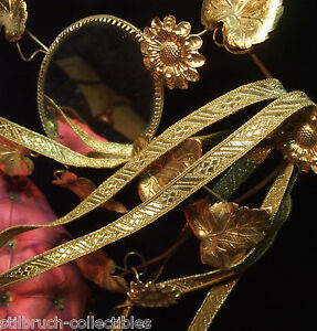 Antique-vtg-Gold-Metallic-Trim-Tape-Ribbon-Embroidery-3-8-034-wide-for-pillows-BTY