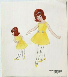 Vintage 1962 Retro Mcm Kids Girl Fashion Clothing Designer Sketch Drawing 38 Ebay
