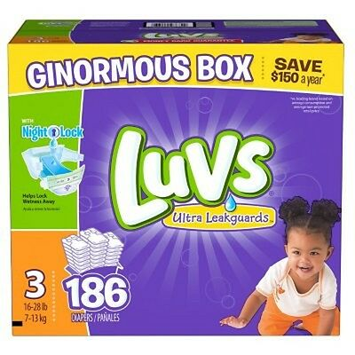 New 186ct Luvs Ultra Leakguard Disposable Baby Diapers Sz 3 (16-28 LB ) Save!!