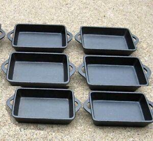 Rectangle Single Serve Cast Iron Dishes - Preseasoned Set of 6 Old Mountain