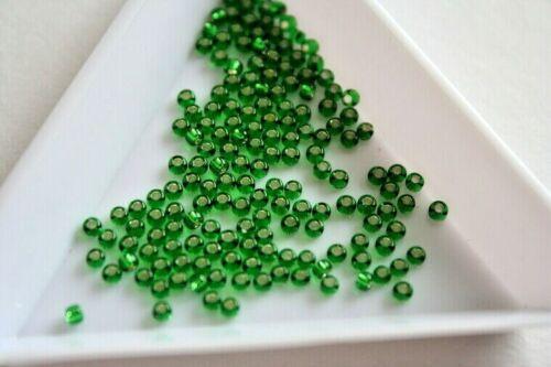 600 Perlas Aprox Talla 11 2mm #7275 Plata Forrado Verde Hierba Semilla Cuentas