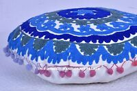 """16"""" BLUE ROUND DECORATIVE FLOOR SEATING CUSHION PILLOW COVER Indian Boho Decor"""