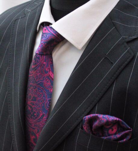 Hommes Cravate /& Mouchoir Set Bleu Foncé /& Rose Floral LUC89