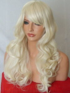 Curly-Long-Full-Women-Ladies-Pale-Blonde-halloween-costume-party-dress-up-WIG-M5