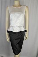 Ladies Black/White Jacquard Peplum Contrast Dress Sizes 8 10 12 14 16