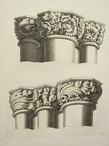 1795-PRINT-GOTHIC-ORNAMENT-YORK-MINSTER-TWO-CAPITALS-CHOIR-END-OF-THE-CHURCH