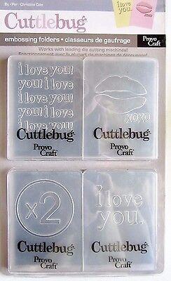 I LOVE YOU Cuttlebug Embossing Folder Set 37-1552 NEW!