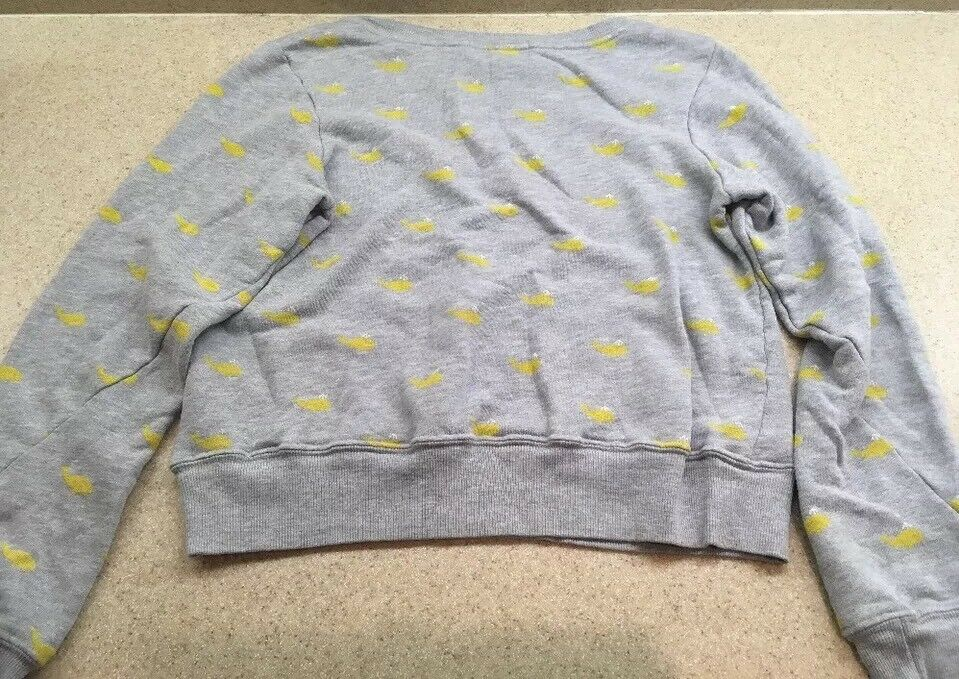 WILDFOX  Couture Small Grey Yellow Yellow Yellow  Print Sweater Sweat Shirt Nautical Rare 28857b