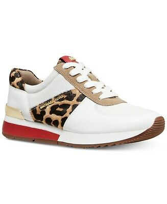 buy popular bb3df 1585d Michael Kors MK Women's Allie Trainer Leather Sneakers Shoes Natural  Cheetah | eBay
