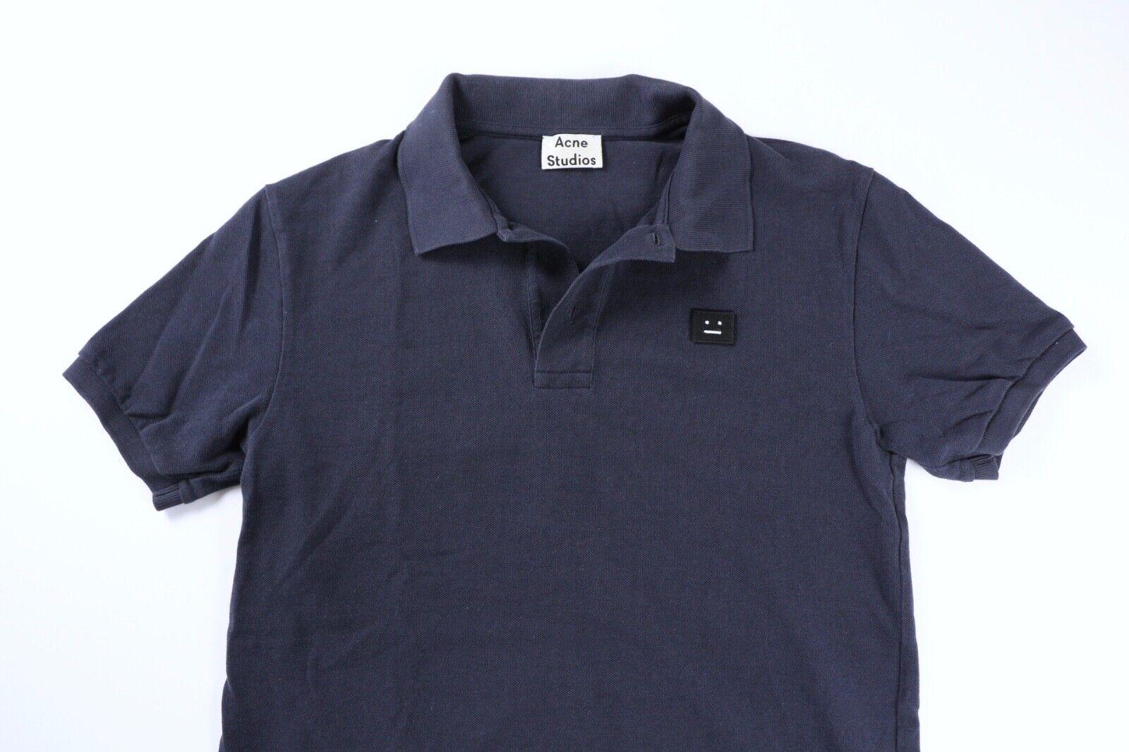 Acne Studios Mens Navy bluee Kolby Face Polo Shirt Medium fits Small