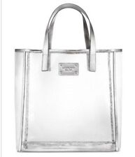 Michael Kors tote bag clear with silver trim shopper handbag purse shopper jelly