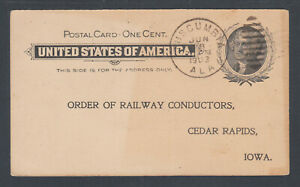 US-Sc-UX14-used-1903-TUSCUMBIA-ALA-to-CEDAR-RAPIDS-IOWA-Railroad-Conductors
