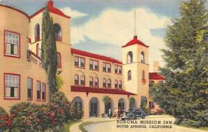 SONOMA-MISSION-INN-Boyes-Springs-California-ca-1940s-Vintage-Linen-Postcard