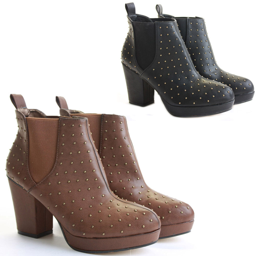 WOMENS LADIES BLOCK MID HIGH HEEL PLATFORM ANKLE CHUNKY CHELSEA BOOTS SHOES SIZE
