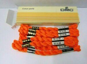 DMC-Pearl-Cotton-Coton-Perle-Embroidery-Floss-970-Orange-2-Skeins-in-Box-NOS