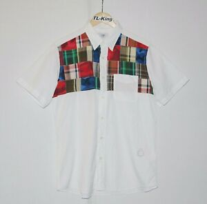 Vintage-BAPE-A-Bathing-Ape-Patchwork-Half-Sleeve-Shirt-Made-In-Japan-sz-L-USED