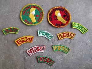 vintage-1950-1958-BSA-Golden-Empire-Council-Patch-Lot-Sacramento-California-tabs