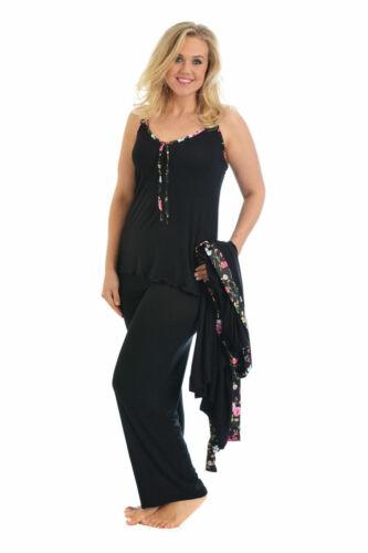 New Womens Plus Size Ladies Cami Pyjama Flower Floral Satin Trim PJ Set Nouvelle