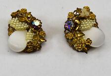 Vintage Clip-on Earrings Simulated Pearl Rhinestone Plastic Cute Brass Tone