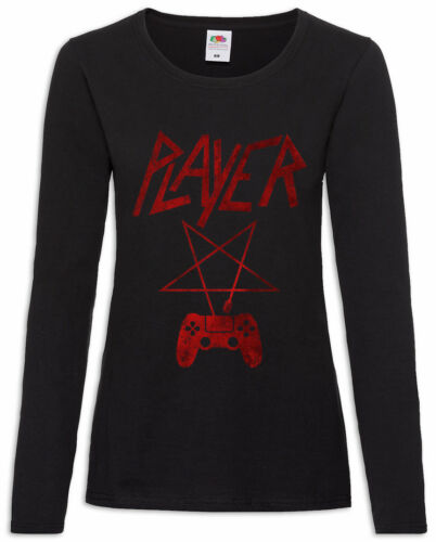 Player P Damen Langarm T-Shirt Player Fun Slayer Gamer Gaming Pentagramm