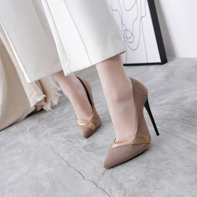 Fashion Women's Stiletto High Heels Pointed Toe Suede Pumps Party shoes Slip On