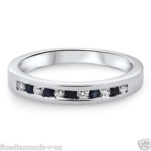 0-25-Ct-Blue-Sapphire-amp-Diamonds-Half-Eternity-Wedding-Ring-White-amp-Yellow-Gold