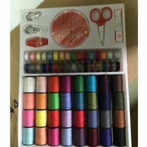 Sewing-Machine-64-pcs-Thread-Set-Sewing-Machine-Spool-Bobbin-Set-Kit-Reel-0g