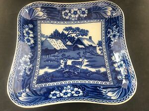 Antique-Wedgwood-Blue-amp-White-Transfer-Printed-Ware-Fallow-Deer-Dish-Square-B-W