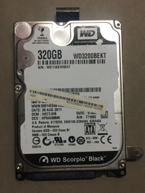 "Western Digital Scorpio Black 320 GB 2.5"" Hard Drive - WD3200BEKT with caddy."