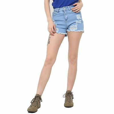 Ladies Womens Denim Ripped High Waist Buttons Hot Pants Pockets Raw Edges Shorts