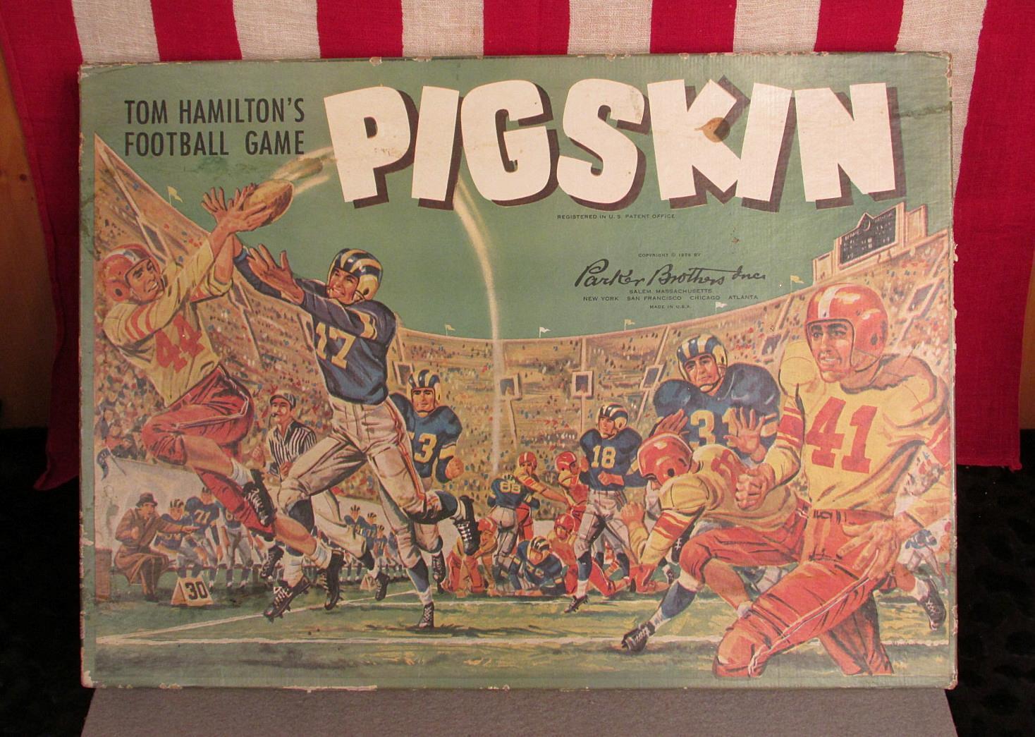 Vintage Années 1950 S Cochon Cuir Football Jeu de plateau Parker Brougehers complet