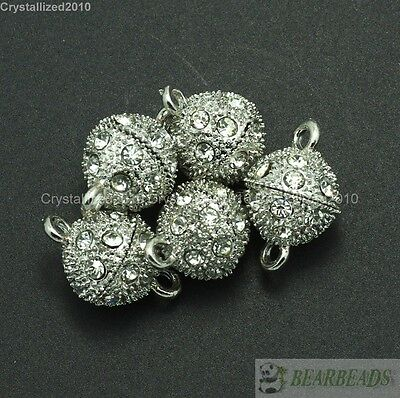 10 Sets Crystal Rhinestone Strong Magnetic Round Ball Connector Clasps Making