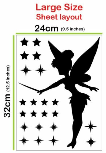 Tinkerbell Fairy Silhouette w Stars Wall Stickers or Car Decals Regular /& Large