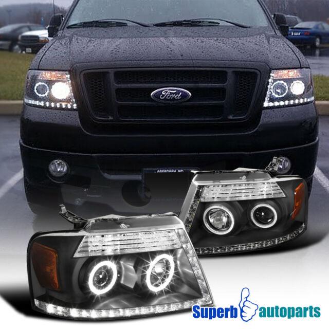 2004-2008 Ford F150 Lincoln Mark LT R8 Style LED Loop Dual Halo Headlights  Black