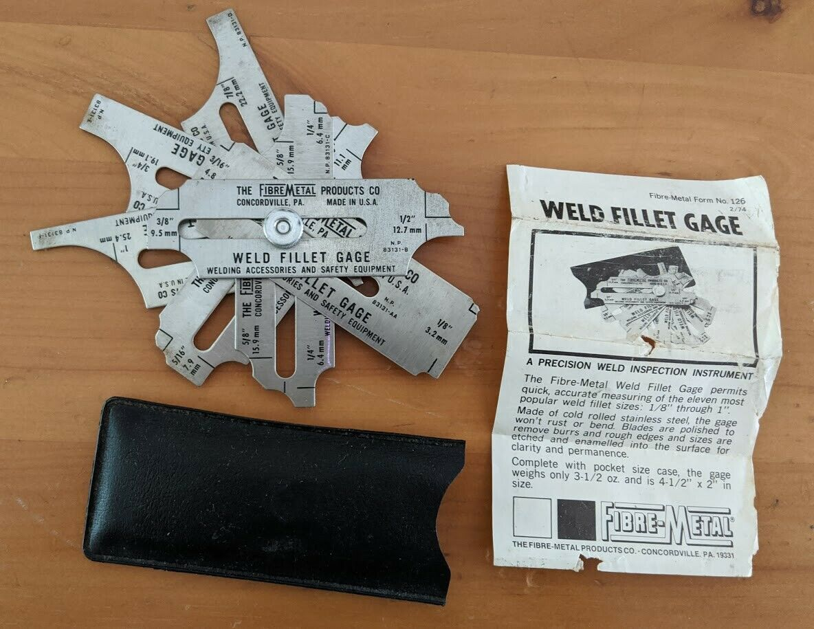 Fibre Metal WFG Weld Fillet Gauge w//Case