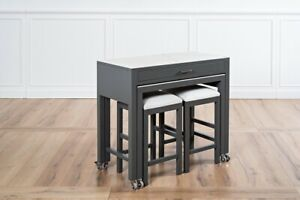 39 W 4 Pc Kitchen Island On Casters With Small Dining Table 2 Stools Modern Ebay