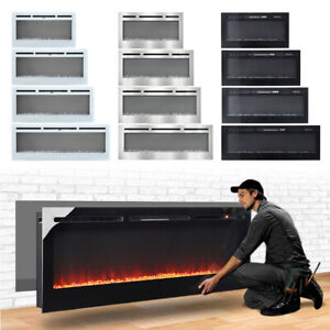 """2021 Electric Wall Mounted LED Fireplace 12 Color Wall Inset Into Fire 40 50 60"""""""