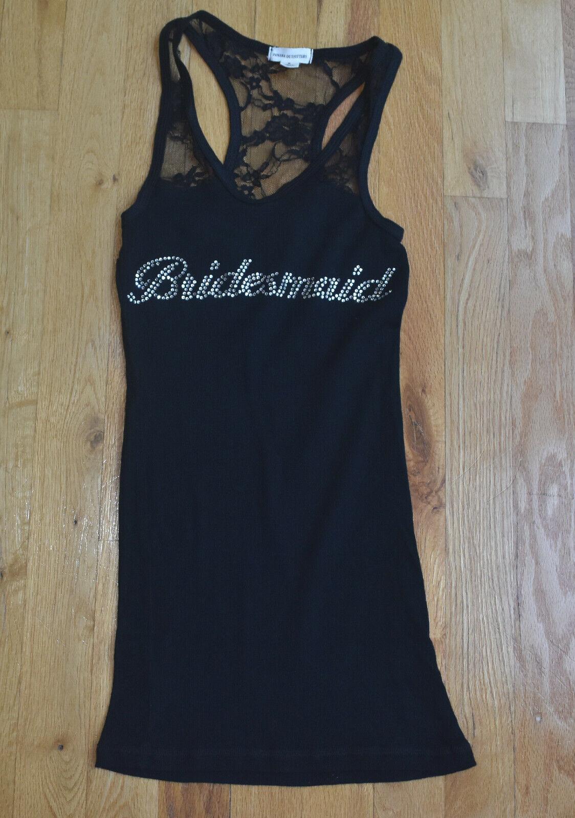EUC! Zenana Outfitters BRIDESMAID black rhinestone lace racerback top (XS-S)